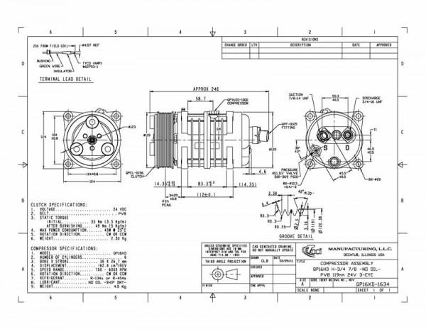 "QP16XD-1634, 24V, 8PK, 119mm, H-7/8""x3/4"" Erstausrüster"