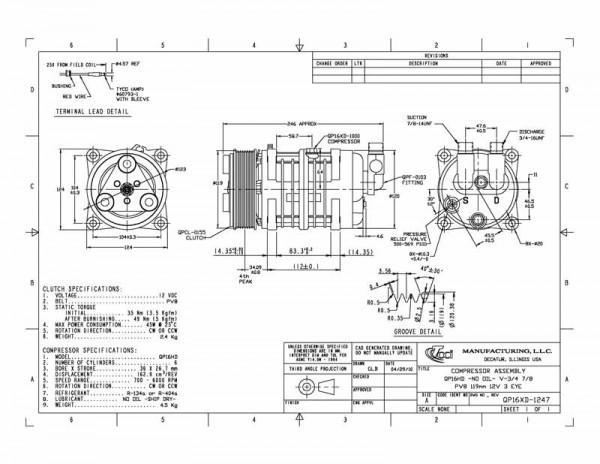 QP16XD-1274 Verdichter 12V, 8PK, 119mm, Anschluss vertikal O-Ring